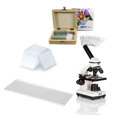Mikroskop Delta Optical BioLight 200 + Szkiełka nakrywkowe 20x20 (100 szt.) + Szkiełka podstawowe cięte (50 szt.) + Zestaw preparatów